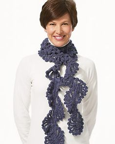 Free crochet scarf patterns are great to make when they are easy to make. This scarf only calls for three rows, that's it. A twisted scarf like this one makes for a fun time.