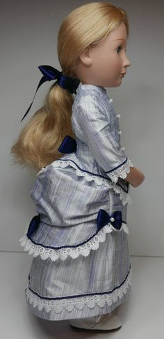 Late Victorian Silk bustle dress to fit A girl for all time dolls Bustle Skirt, Blue Satin, Cotton Lace, Fitted Bodice, Ribbon Bows, Silk Fabric, Blue Stripes, American Girl, Victorian