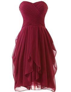 Burgundy Short Bridesmaid Dresses Dark Red Prom Dresses Sweetheart Formal Dresses on Luulla #wedding #redweddingdresses