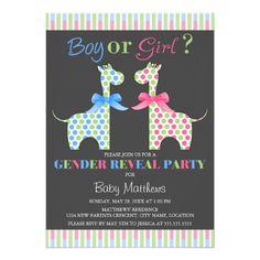 Boy or Girl Giraffe Gender Reveal Party Announcement