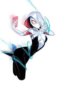 Spider-Gwen by Mikand... this seems like a poor idea. Slinging and selfies. -_-