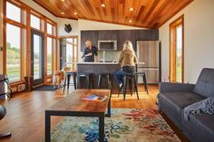 This is the 601 sq. Aspen Small House by Dickinson Homes and you're welcome to come check it out inside! Small House Floor Plans, Cabin House Plans, Tiny House Cabin, Simple House Design, Tiny House Design, Modern House Design, Small Modern Home, Modern Tiny House, Plan Chalet