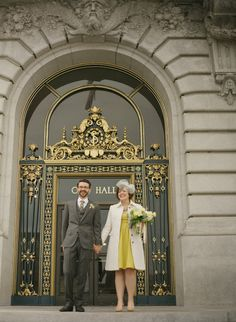 Love the look of this yellow dress + vintage veil in this elopement.