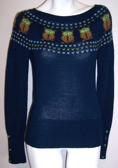 Lux Sweater M Blue Owl Knit Urban Outfitters Darling Top Women's Size Medium #Lux #Crewneck