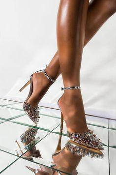 Front View Azalea Wang Pop Life Fancy Diamonds Sexy Pump in Silver Stilettos, Pumps, Stiletto Heels, Shoes Heels, Fancy Shoes, Me Too Shoes, Lila Heels, Comfortable Dress Shoes For Women, Girls Water Shoes