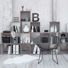 Ideas : Creative Bookshelf Ideas To Maximize Your Interiors - Swedish Interior House Decorating Ideas With Beautiful Modern Bookcase And Minimalist Iron Chair