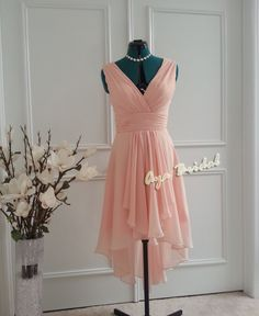 Pale Pink Vneck Bridal / Bridesmaid Dress / Party by AyaBridal, $85.00