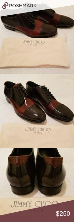 Jimmy Choo Mens 2 Tone Brown Ltd Edition Oxford Authentic Jimmy Choo Men's 2 Tone Brown Ltd Edition Oxford Dress Shoes EU43 US10. Shoes are in new never worn condition. Includes authentic Jimmy Choo dust bag, no box. Jimmy Choo Shoes Oxfords & Derbys
