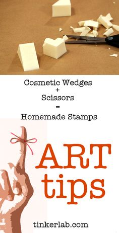 Art tip: Upcycle cosmetic wedges as inexpensive stamps. More art tips and ideas on Tinkerlab.
