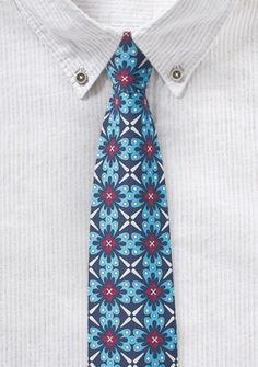 Türkis gemusterte Krawatte aus 100% Baumwolle