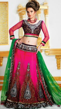 Be your own style icon with this #Pink Net #Gujarati #Lehenga #Choli with Dupatta.