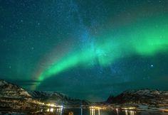 """""""Northern Lights & Milkyway""""  Kvaløyvågen, Tromsø, Norway - the night of 7th January"""