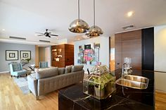 A calm, relaxing and modern setting of the living room.