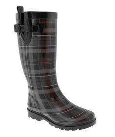 Black Scottish Plaid Shiny Rain Boot #zulily #zulilyfinds