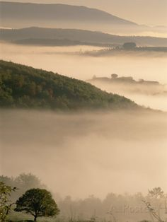 A Scenic View of Fog Hovering over the Umbrian Landscape Photographic Print by Tino Soriano at AllPosters.com