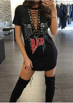 Lace Up Rad Queen Mini Dress without Necklace