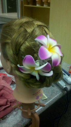 Updos in Cosmetology class