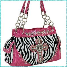 Rhinestone Cross Zebra Purse (PK) : $29.99 - Lonestar Princess, Western and Trendy Purses / Wallets, Jewelry, Rhinestone Belts and More!