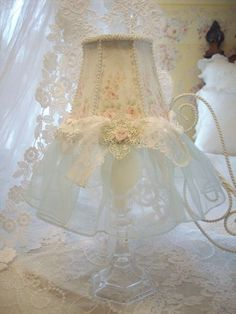 #Shabby #Chic make your house a home - white lace lamp.. http://www.myshabbychicstore.com Please Repin - Thank You:)