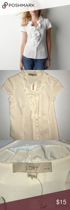 NWT LOFT Off White Ruffle Collar Button-up Shirt NWT LOFT Off White Ruffle Collar Button-up Shirt never worn. In perfect condition. Great for work or casual! Pet Free Smoke Free  LOFT Tops Button Down Shirts