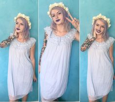 vintage pastel baby blue lace nightie ~ babydoll nightgown ~❀~ sexy meets sweet ~❀ kawaii pastel goth ddlg pinup burlesque ~❀~ @ fever.dream.boutique on IG