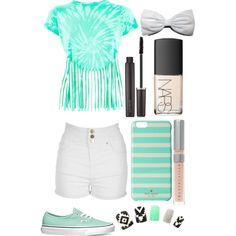 mint 'n' white by chloe-cole823 on Polyvore featuring Jane Norman, Vans, Kate Spade, Chantecaille and Laura Mercier