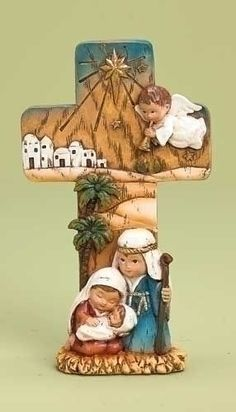 Nativity cross statue with childlike holy family and angel made of resin stands 7 inches tall ro32387