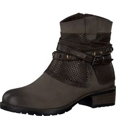 #TAMARIS #Damen #Leder-Boot #braun Die Leder-Stiefelette von Tamaris ist der Hingucker deines Outfits. Der Materialmix und die Lederriemen mit Nieten sorgen für eine lässige Optik. Besonders gut zu Jeans und Pullovern zu kombinieren.