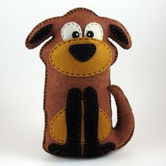 Stuffed Dog PATTERN - Sew by Hand Plush Felt Stuffed Animal Dog PDF - Easy to Make