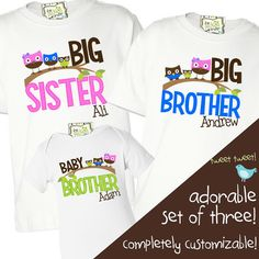 customized owl brother and sister shirts, three piece set