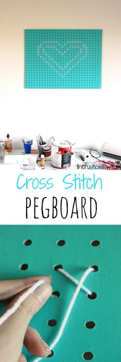Make a fun and simple cross stitch heart using just pegboard and yarn! | therusticwillow.com
