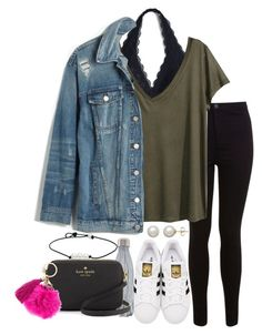 """Untitled #256"" by valerienwashington ❤ liked on Polyvore featuring Miss Selfridge, H&M, Madewell, adidas Originals, S'well, Kate Spade and Honora"
