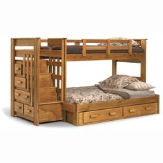 Bunkbed with full bed on the bottom and stairs! But I know my toddler would climb up and fling himself off the top bunk.
