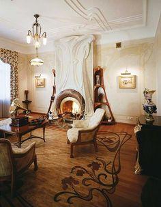 Art Nouveau style house: Villa Liberty near Moscow, Russia. Wall & floor decorative details.