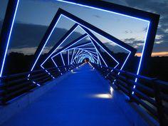 High Trestle Bridge at night