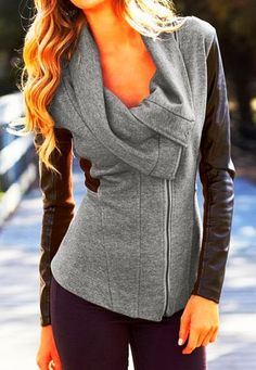see more Adorable Asymmetric Gray Jacket with Black Leather Sleeves for Fall