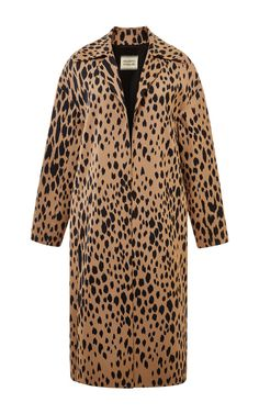 Long Leopard Stretch Cady Coat by Fausto Puglisi for Preorder on Moda Operandi