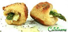 Deliciosos rollitos de pollo rellenos de espárragos trigueros y queso. Recetas de Cocina.