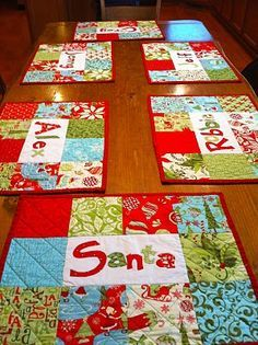 Personalized Placemats from Moda Bake Shop  These could be made with any fabric; not necessarily Christmas-themed.  I love that the instructions show great photos of how to do the applique of the names.