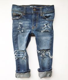 """The """"Farm Fresh Original""""- Distressed Jeans for Babies and Toddlers, Hand-Distressed Denim for Trendy Boys and Girls, Ripped Baby Jeans by FarmFreshDenim"""