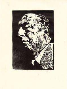 """Pablo Neruda"" linocut by Jade They. www.jadethey.com. Tags: Linocut, Cut, Print, Linoleum, Lino, Carving, Block, Woodcut, Helen Elstone, Portrait, Poet, Man, Face."
