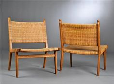 Hans J. Wegner 1914-2007. Two oak lounge chairs, prototypes. Two of my most favorite chairs ever.
