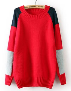 Red Long Sleeve Contrast Shoulder Knit Sweater US$33.11