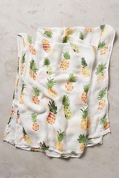 Muslin Baby Swaddle Blankets Burping Cloth Stroller Cover 2 Pack Large 120x120cm Organic Cotton Square- Strawberry /& Pineapple Design- Swaddling Wrap Fun Fruit