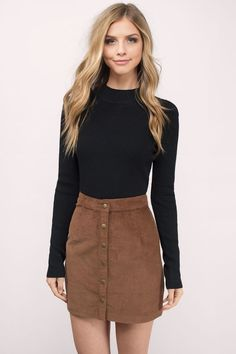 """Shop the """"Ilyn Camel Corduroy Skirt"""" on Tobi.com now! high waist casual outfit daytime school style chic student day"""