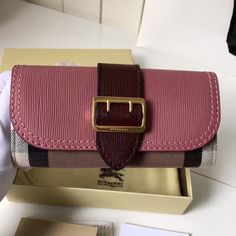 e224f86d8e58 Burberry House Check and Leather Continental Wallet with Buckle 40224181  Pink Burgundy 2016