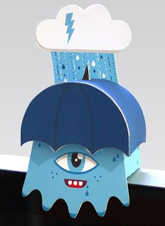 Monitor Monster - Blue Lightning Paper Toy