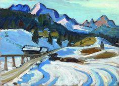 """Gabriele Münter (1877 - 1962) """"Winter in Elmau"""", 1933, oil on plywood, 33 x 45 cm"""