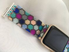 Items similar to Mermaid Beaded Apple Watch Band on Etsy Bead Jewellery, Beaded Jewelry, Beaded Bracelets, Unique Jewelry, Loom Beading, Beading Patterns, Beaded Watches, Jewelry Illustration, Apple Watch Bands