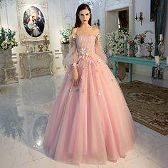 long prom dresses - Long Sleeve Prom Dresses Pearl Pink Ball Gown Long Floral Fairy Prom Dress from Dressmelody Floral Prom Dresses, Prom Dresses Long With Sleeves, Quince Dresses, Elegant Dresses, Pretty Dresses, Long Dresses, Floral Gown, Dress Long, Light Pink Quinceanera Dresses